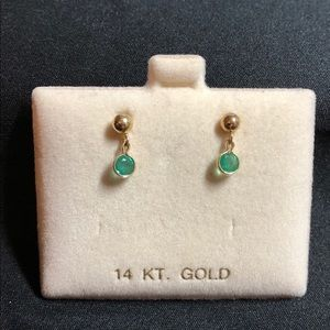 4mm emeralds with 4mm ball studs in 14K Settings